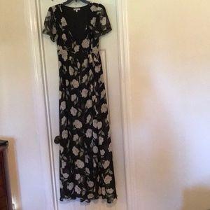 Black floral short-sleeve, long dress